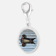 Male wood duck Silver Oval Charm