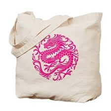 Traditional Pink Chinese Dragon Circle Tote Bag