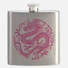 Traditional Pink Chinese Dragon Circle Flask