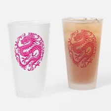 Traditional Pink Chinese Dragon Circle Drinking Gl