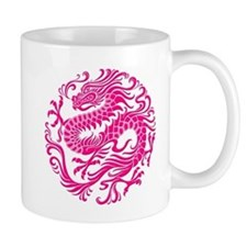 Traditional Pink Chinese Dragon Circle Mugs