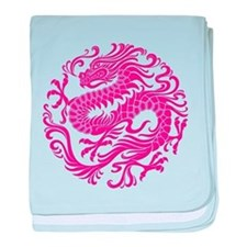 Traditional Pink Chinese Dragon Circle baby blanke