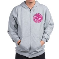 Traditional Pink Chinese Dragon Circle Zipped Hood