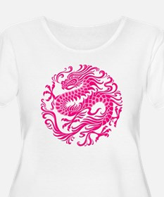 Traditional Pink Chinese Dragon Circle Plus Size T