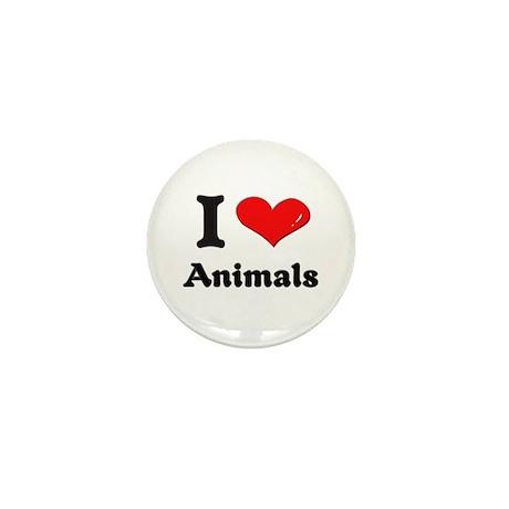 I love animals Mini Button