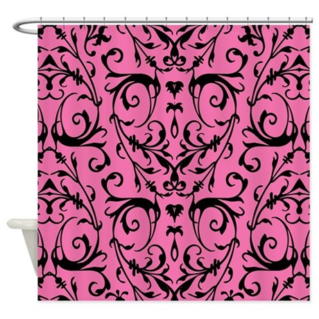 Pink And Black Damask Pattern Shower Curtain By Artandornament