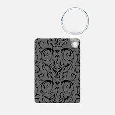 Grey And Black Damask Pattern Keychains