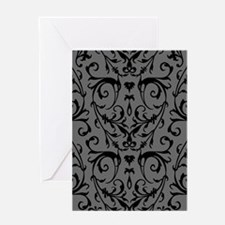 Grey And Black Damask Pattern Greeting Cards