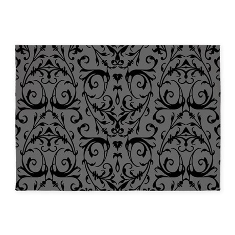 Grey And Black Damask Pattern 5 X7 Area Rug By Artandornament