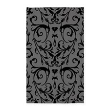 Grey And Black Damask Pattern 3'x5' Area Rug