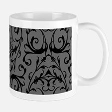 Grey And Black Damask Pattern Mugs