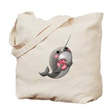 Cute Narwhal with Donut Tote Bag