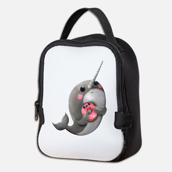 Cute Narwhal with Donut Neoprene Lunch Bag