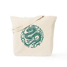 Traditional Teal Blue Chinese Dragon Cir Tote Bag