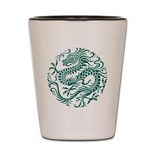 Traditional Teal Blue Chinese Dragon Cir Shot Glas