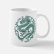 Traditional Teal Blue Chinese Dragon Cir Mugs