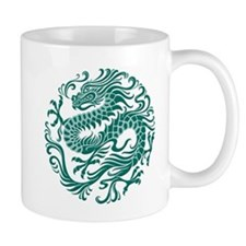 Traditional Teal Blue Chinese Dragon Cir Mugs