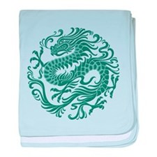 Traditional Teal Blue Chinese Dragon Cir baby blan
