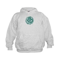 Traditional Teal Blue Chinese Dragon Cir Hoodie