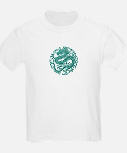 Traditional Teal Blue Chinese Dragon Cir T-Shirt