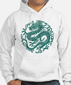 Traditional Teal Blue Chinese Dragon Cir Hoodie Sw