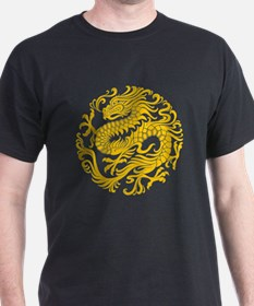 Traditional Yellow Chinese Dragon Circle T-Shirt