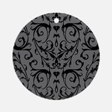 Grey And Black Damask Pattern Ornament (Round)