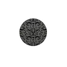 Grey And Black Damask Pattern Mini Button