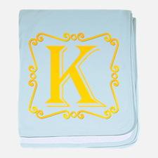 Gold Letter K baby blanket
