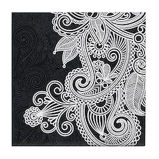 Black and White Decorative Tile Coaster