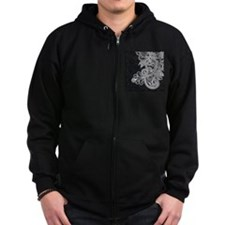 Black and White Decorative Zip Hoodie