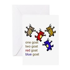 Red Goat Blue Goat Greeting Cards