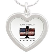 Honor The Fallen Silver Heart Necklace