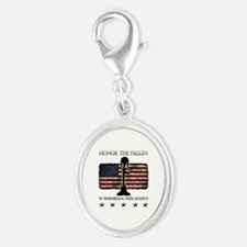 Honor The Fallen Silver Oval Charm