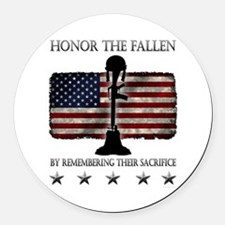Honor The Fallen Round Car Magnet