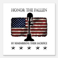 """Honor The Fallen Square Car Magnet 3"""" x 3"""""""