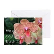 Happy Belated Birthday Orchids Greeting Cards