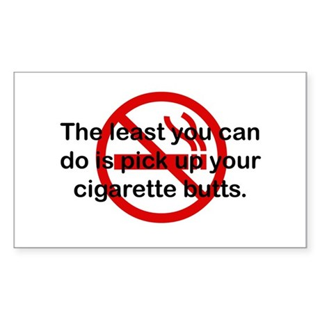 Pick Up Cigarette Butts Rectangle Sticker