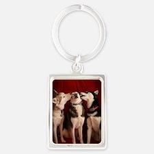 Kissing Huskies Portrait Keychain