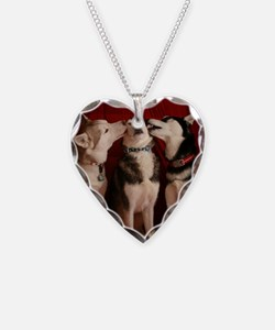 Kissing Huskies Necklace Heart Charm