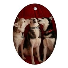 Kissing Huskies Oval Ornament