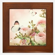 Flowers and Butterflies Framed Tile