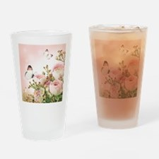 Flowers and Butterflies Drinking Glass
