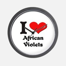 I love african violets  Wall Clock