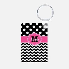 Pink Black Dots Chevron Personalized Keychains