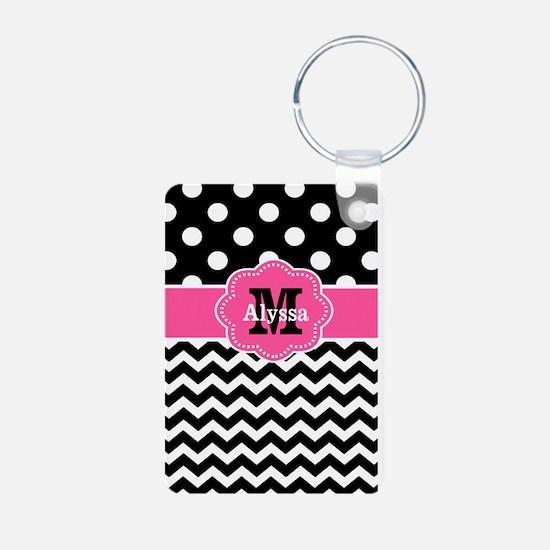 Pink Black Dots Chevron Personalized Keychains