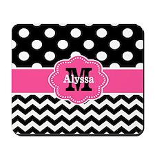 Pink Black Dots Chevron Personalized Mousepad