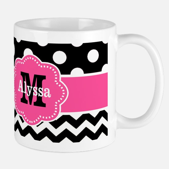 Pink Black Dots Chevron Personalized Mugs