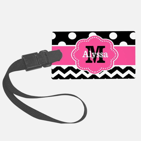 Pink Black Dots Chevron Luggage Tag