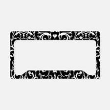 Black And White Damask Pattern License Plate Holde